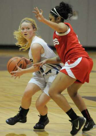 Hoosic Valley's Sam Connors brings the ball down the court during their girl's high school Class C state regional against Moriah in Stillwater,N.Y. March 6,2011 ( Michael P. Farrell/Times Union ) Photo: Michael P. Farrell