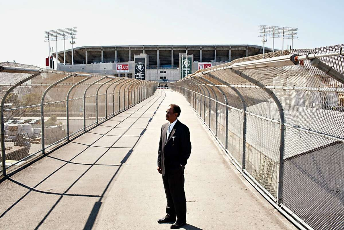 Oakland City Councilman Larry Reid is pushing a plan to put in hotels, a conference center and retail around the Coliseum in Oakland, Calif., March 6, 2012. Here Reid at the Coliseum BART station. Jason Henry/Special to The Chronicle