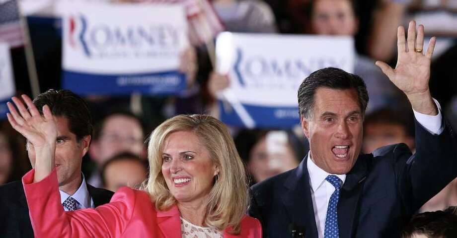 BOSTON, MA - MARCH 06:  Republican presidential candidate, former Massachusetts Gov. Mitt Romney and his wife Ann Romney thank supporters during a Super Tuesday event at the Westin Copley Place March 6, 2012 in Boston, Massachusetts. Super Tuesday could play a vital role in the nomination of the Republican candidate as ten states hold their primaries or caucuses on the same day.  (Photo by Win McNamee/Getty Images) Photo: Win McNamee / 2012 Getty Images