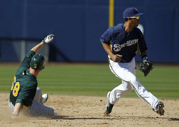 Jeff Fiorentino slides into second base with double to center field in the 9th inning of the Oakland A's Cactus League spring training game against the Milwaukee Brewers in Phoenix, Ariz. on Tuesday, March 6, 2012. Photo: Paul Chinn, The Chronicle