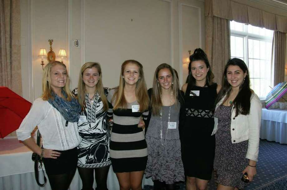 Members of the New Canaan Chapter of the National Charity League at the annual Mother-Daughter Tea. From left, Tori Williams, Liza Swindell, Giuliana Savini, Bridget Falcone, Annie Conover and Stephanie Torromeo. Photo: Contributed Photo