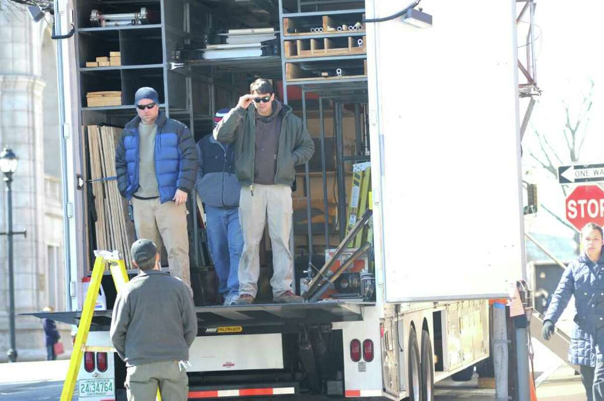 """Carpenters for Showtime's """"The Big C"""" truck parked on East Elms Street Greenwich Avenue Tuesday, March 6, 2012."""