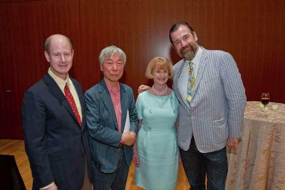 Eddie Allen, left, Lee Ufan, Nancy C. Allen and CAMH Executive Director Bill Arning Photo: Richard Carson