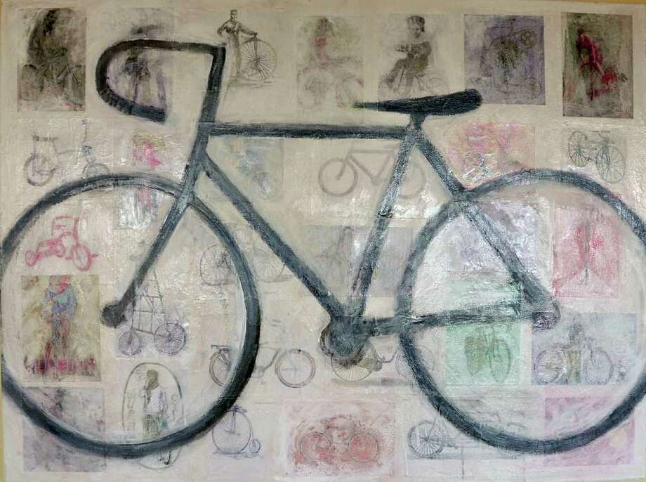 "Lisa Thoren will exhibit her work at Darien Rowayton Bank this month. Pictured is ""Bicycle Built for You."" Photo: Contributed Photo"