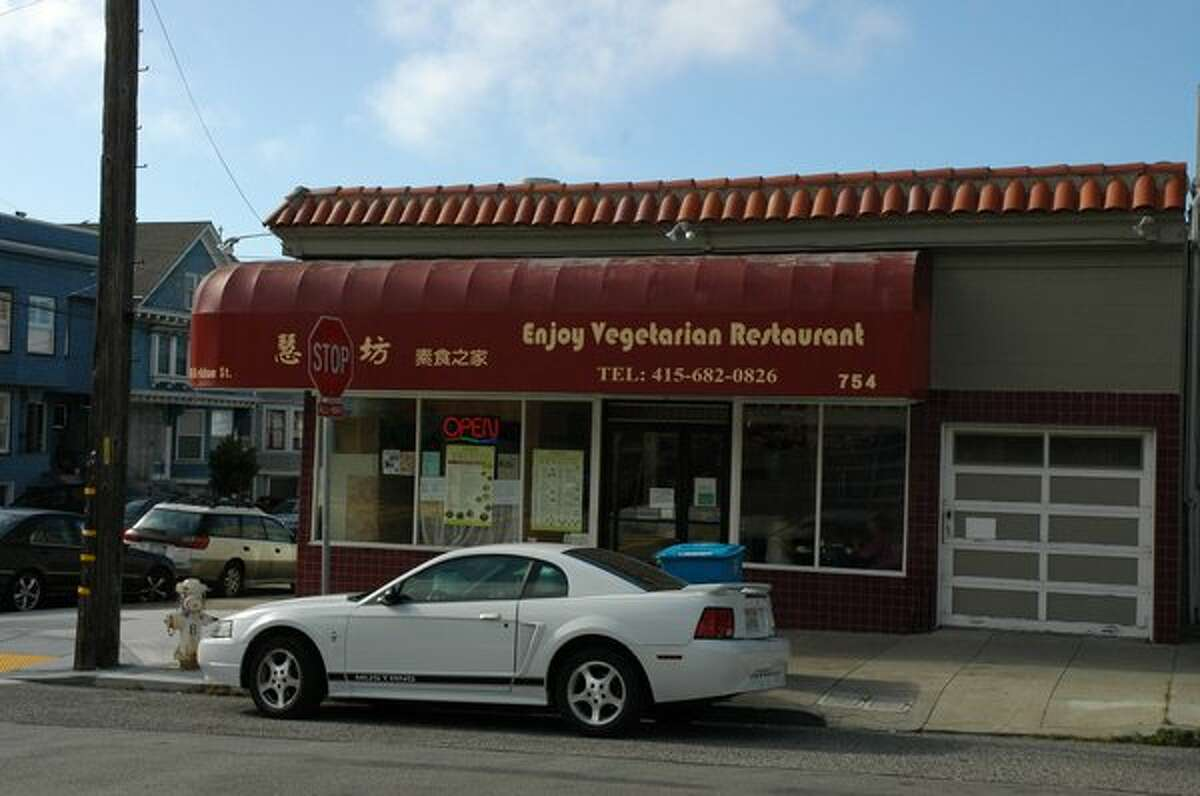 Enjoy Vegetarian This Chinese restaurant serves dishes cooked in the Buddhist vegetarian tradition, with plenty of dishes that fall under vegan territory. Enjoy Vegetarianuses various meat substitutes to round out its dishes - alongside vegetables and tofu, of course - and also refrains from using onions or garlic in its cooking. Two SF locations: 839 Kearny St., (415) 343-2488; 754 Kirkman St., (415) 682-0826
