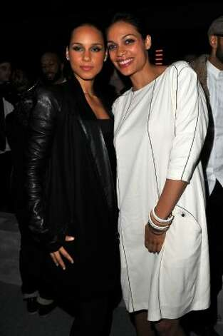 Alicia Keys and Rosario Dawson attend the Kanye West  Ready-To-Wear Fall/Winter 2012 show as part of Paris Fashion Week at Halle Freyssinet on March 6, 2012 in Paris, France.   (Pascal Le Segretain / Getty Images)