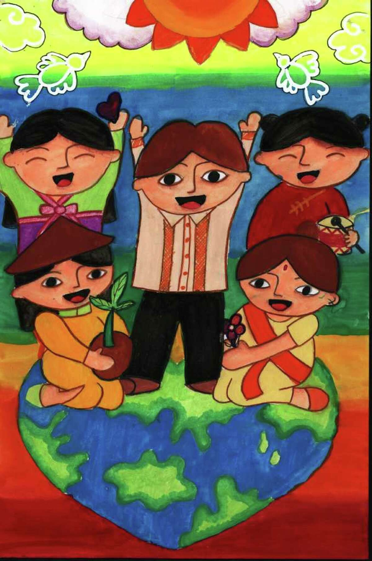 """GO! WORLD AWARENESS CHILDREN'S MUSEUM """"Take Care of Our World"""" by Jerrika C. Shi (age 12, Philippines) is among the works in """"Our World: Thinking Green"""" at the Go! World Awareness Children?s Museum in Glens Falls through April 29."""