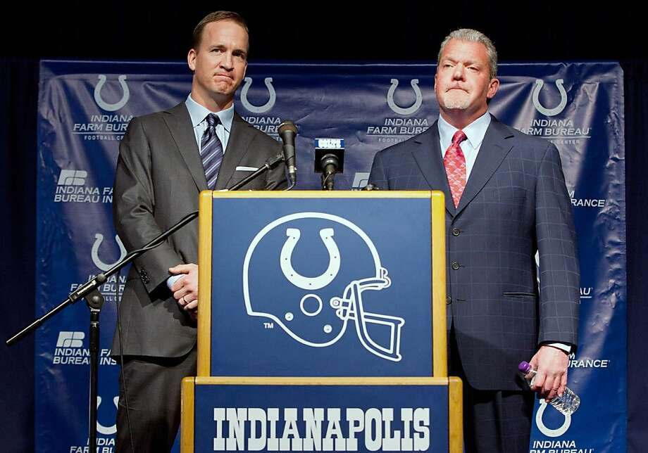 INDIANAPOLIS, IN - MARCH 07:  Peyton Manning (L) and Indianapolis Colts owner Jim Irsay attend a press conference announcing that the Colts will release of Manning at Indiana Farm Bureau Football Center on March 7, 2012 in Indianapolis, Indiana.  (Photo by Joey Foley/Getty Images) Photo: Joey Foley, Getty Images