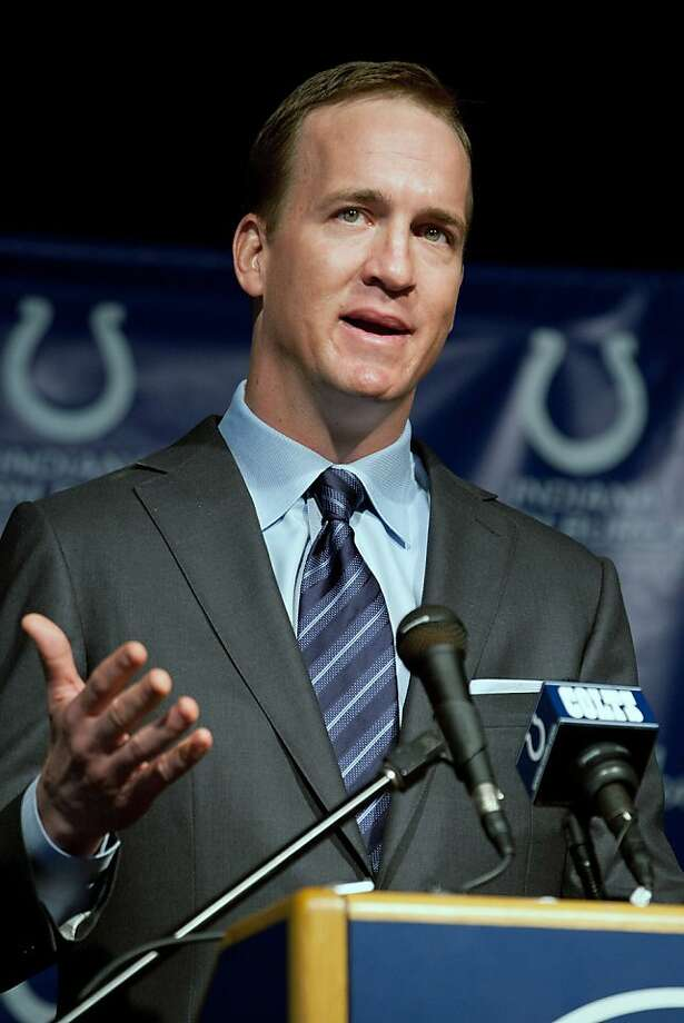 INDIANAPOLIS, IN - MARCH 07:  Peyton Manning speaks during a press conference announcing his release from the Indianapolis Colts at Indiana Farm Bureau Football Center on March 7, 2012 in Indianapolis, Indiana.  (Photo by Joey Foley/Getty Images) Photo: Joey Foley, Getty Images