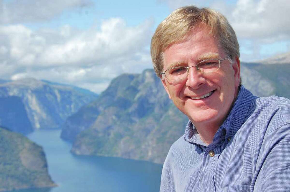Rick Steves, a European guidebook author and PBS travel show host, is traveling across the United States on a 20 cities in 20 days speaking tour.