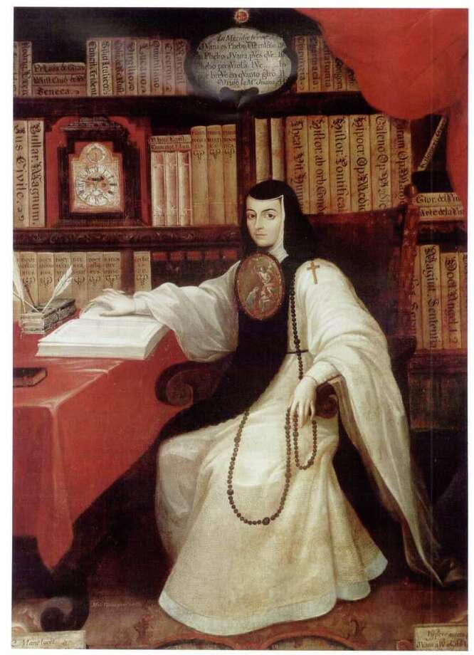 """Poet Sor Juana Ines de la Cruz, the subject of """"Sor Juana and the Chambered Nautilus,"""" has been called the first feminist of colonial Mexico for her commitment to learning. She's portrayed in this 1750 painting by Miguel Cabrera. / handout email"""