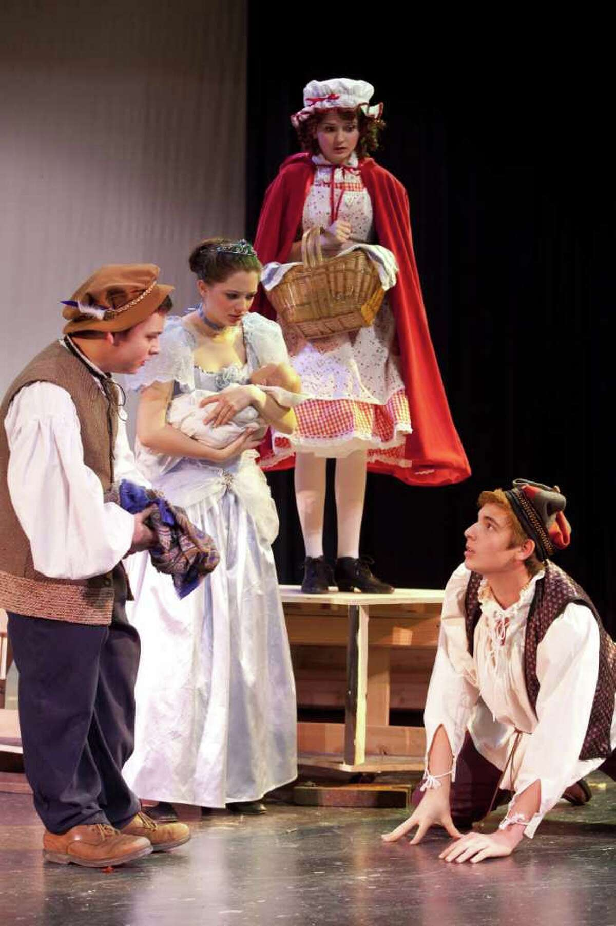 """Characters from various fairy tales meet up in """"Into the Woods,"""" the musical to be performed by The Staples Players in five performances this month."""