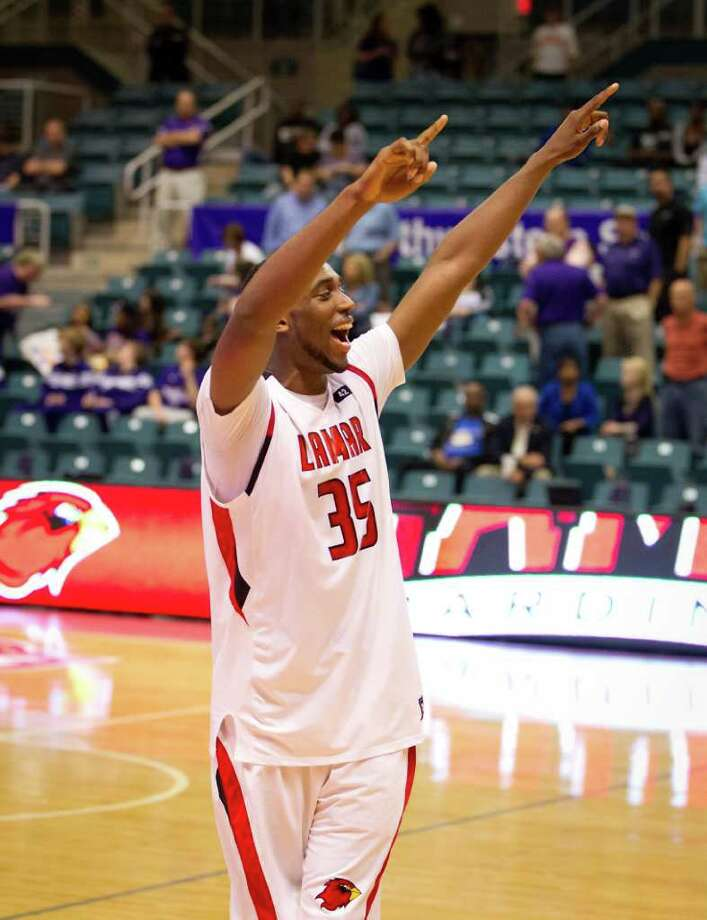 Lamar forward Stan Brown celebrates after the Cardinals victory over the Northwestern State Demons  a Southland Conference Tournament game at the Merrell Center on Wednesday, March 7, 2012, in Katy. Lamar won the game 76-69. Photo: Smiley N. Pool, Houston Chronicle / © 2012  Houston Chronicle
