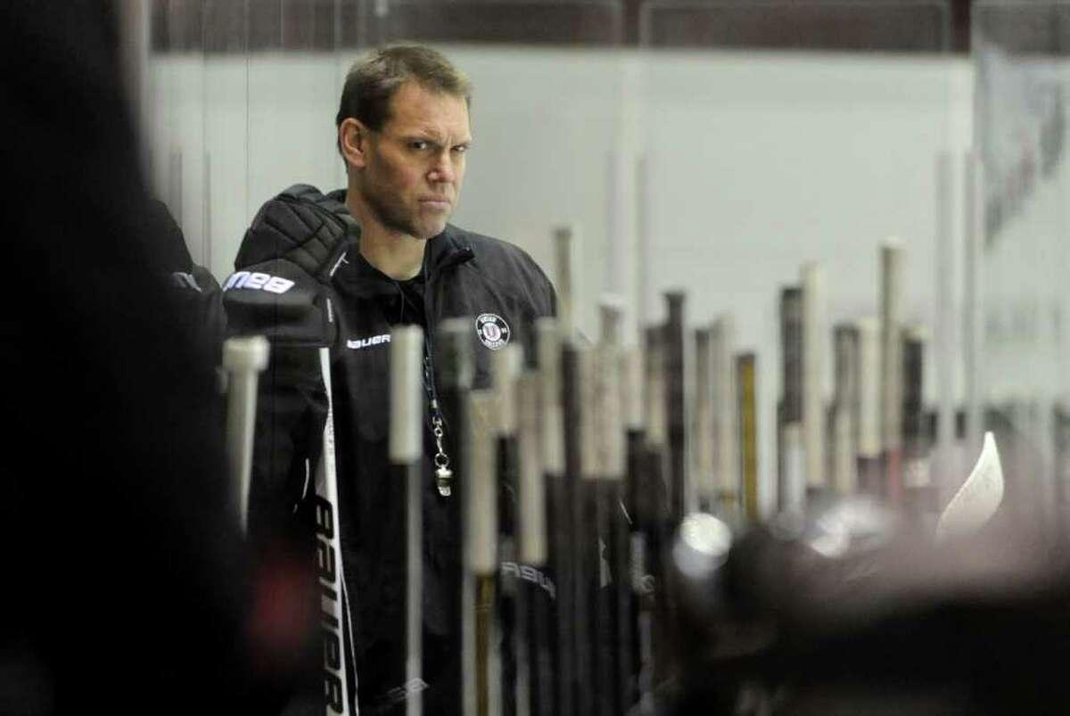Union hockey coach Rick Bennett during practice Wednesday, Feb. 7, 2012 at Union College in Schenectady, N.Y. (Lori Van Buren / Times Union)