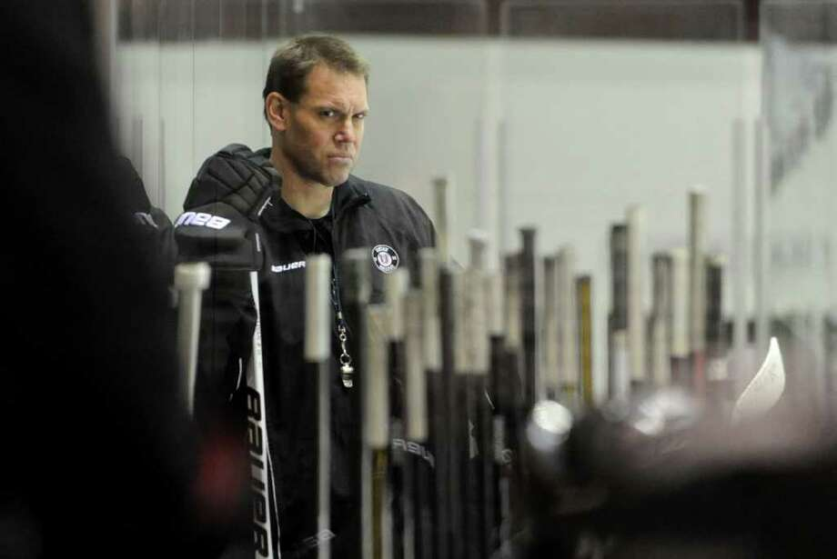 Union hockey coach Rick Bennett during practice Wednesday, Feb. 7, 2012 at Union College in Schenectady, N.Y. (Lori Van Buren / Times Union) Photo: Lori Van Buren