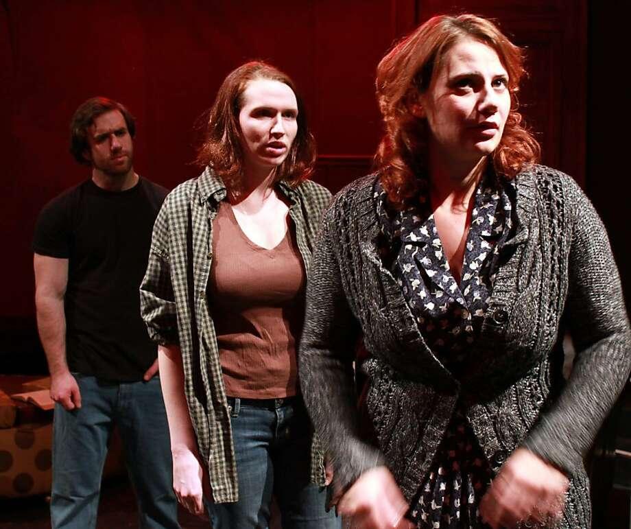"From ""Bright Room"": Zillah and Rolland conjure the past. Pictured Nicholas Trengove (Rolland), Maggie Ballard (Zillah), Xanadu Bruggers (Agnes) . Photo: Maxx Kruzunki"