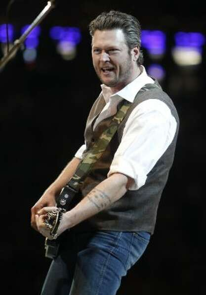 Blake Shelton performs in concert during the Houston Livestock Show and Rodeo on March 7. (James Nie