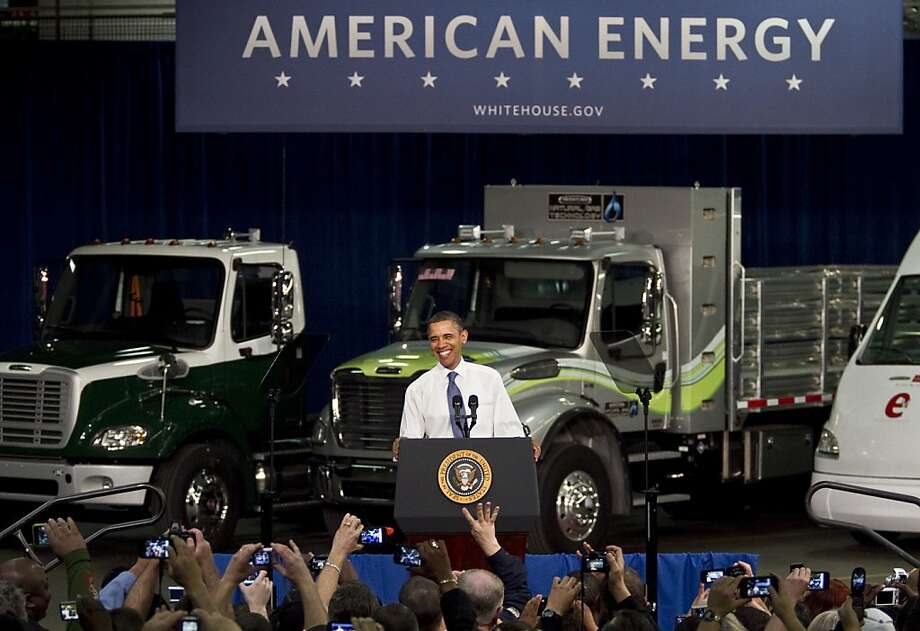 MT. HOLLY, NC - MARCH 7:  U.S. President Barack Obama delivers remarks on the economy at the Daimler Trucks North America Mt. Holly Truck Manufacturing Plant  on March 7, 2011 in Mt. Holly, North Carolina.  President Obama outlined incentives to promote development of more fuel-efficient cars and to make it easier for people to buy and operate next-generation vehicles.  (Photo by John W. Adkisson/Getty Images)  *** BESTPIX *** Photo: John W. Adkisson, Getty Images