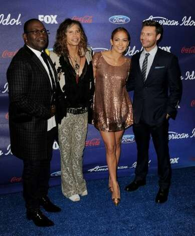 Do not attempt this outfit at home unless you look like Jennifer Lopez, who's hanging out with fellow American Idol judges Randy Jackson and Steven Tyler and host Ryan Seacrest at a finalist party on Mar. 1 in Los Angeles. (Photo by Kevin Winter/Getty Images) (Kevin Winter / Getty Images)