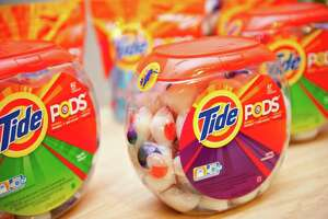 This product image provided by Procter & Gamble Co., shows Tide Pods, three-chamber liquid unit dose pods.
