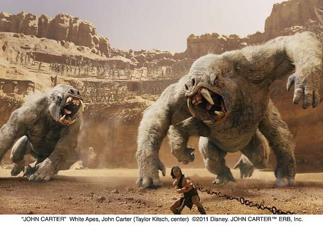 """JOHN CARTER""White Apes, John Carter (Taylor Kitsch, center) Photo: Walt Disney Pictures"