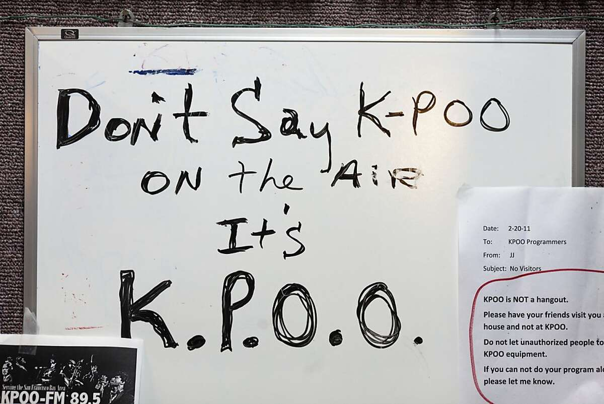 A written reminder that sits inside the recording studio at KPOO 89.5 FM on Tuesday, February 28, 2012 in San Francisco, Calif.