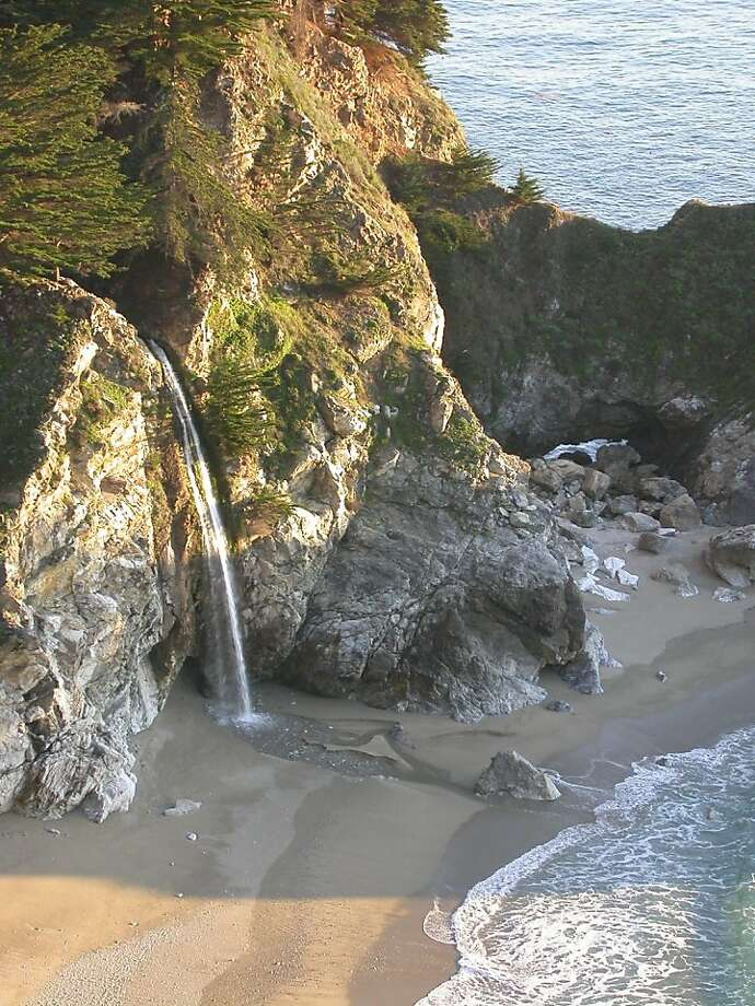 McWay Falls, an 80-foot cascade, can be viewed from a roadside pullout or Julia Pfeiffer Burns State Park. Photo: Tom Stienstra