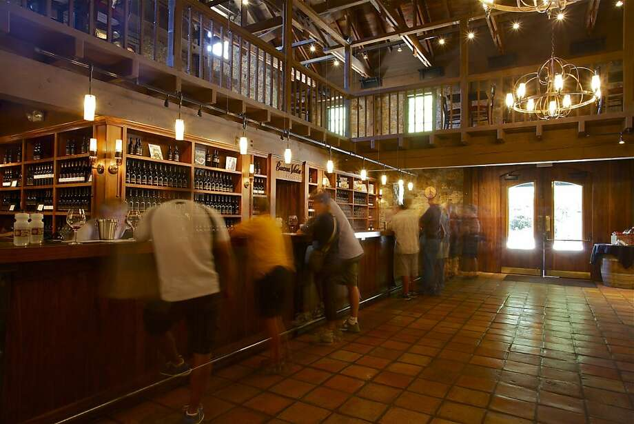 The tasting room features wood paneling. Photo: Lindsay Baum
