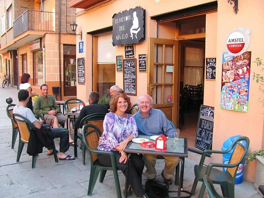 Eric Brink and Gayle Vassar of Pleasant Hill and Camino Santiago pilgrims at a nearby Santo Domingo cafe. Photo: Courtesy Eric Brink