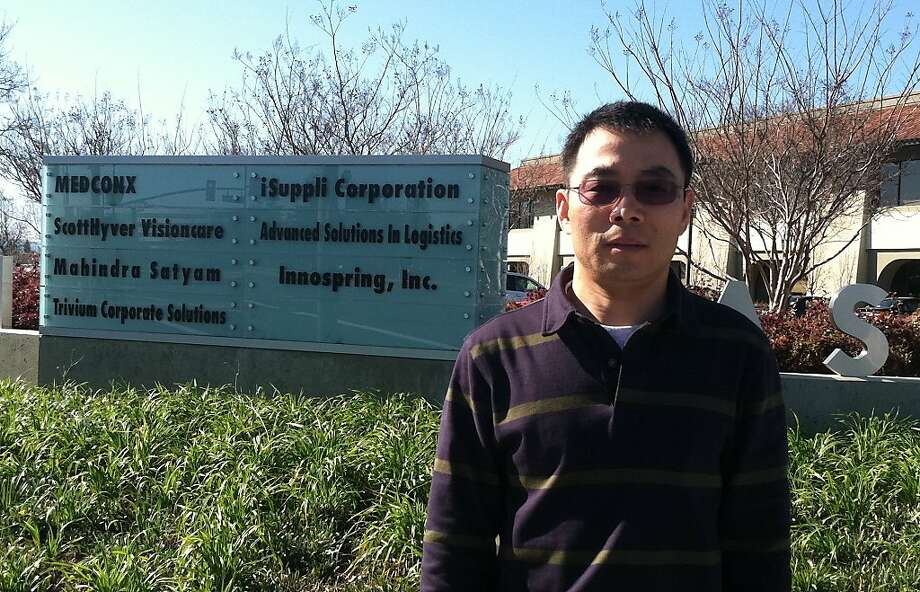 An undated handout photo of Eugene Zhang at the facade of InnoSpring, a American-Chinese startup incubator. Photo: Courtesy InnoSpring