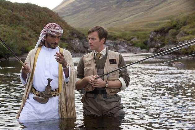 "Ewan McGregor plays a fishing expert recruited by a sheikh (Amr Waked)  to bring his passion home in ""Salmon Fishing in the Yemen,"" opening March 9, 2012. Photo: CBS Films"