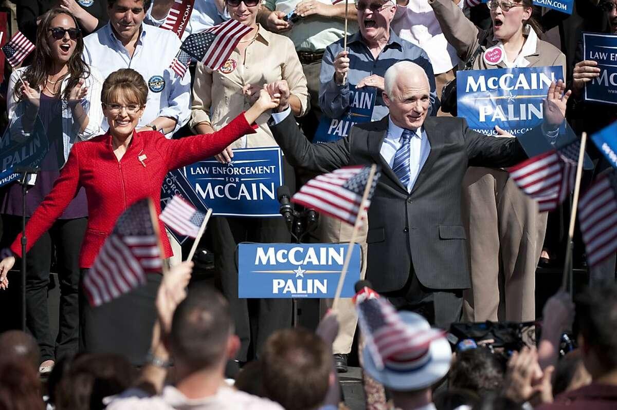 GAME CHANGE: Julianne Moore as Sarah Palin, Ed Harris as Sen. John McCain.