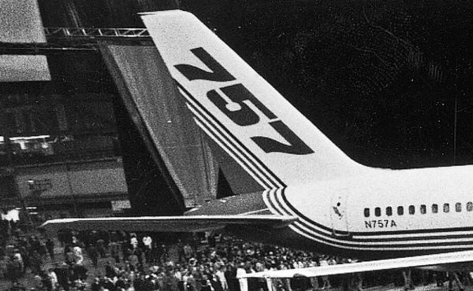 Boeing rolls out the first 757 in 1982.