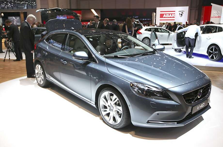 A Volvo V40 automobile, owned by Zhejiang Geely Holding Group Co., is seen on display on the second press day of the Geneva International Motor Show in Geneva, Switzerland, on Wednesday, March 7, 2012. The 82nd Geneva International Motor Show will showcase the latest models from the auto industry's leading manufacturers at the Palexpo exhibition centre this week. Photographer: Chris Ratcliffe/Bloomberg Photo: Chris Ratcliffe, Bloomberg