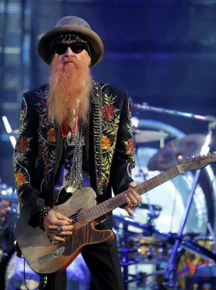 Dusty Hill, Billy Gibbons and Frank Beard with ZZ Top perform in concert during the Houston Livestoc