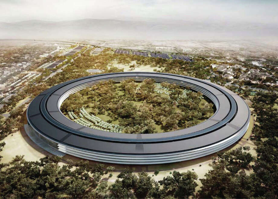 An artist's rendering provided to the media in 2012 shows the planned Apple campus, which would sit on 175 landscaped acres in Cupertino. Photo: Via Bloomberg / City of Cupertino
