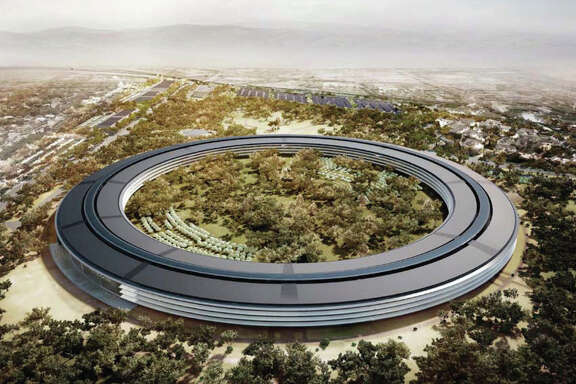 An artist's rendering provided to the media in 2012 shows the planned Apple campus, which would sit on 175 landscaped acres in Cupertino.