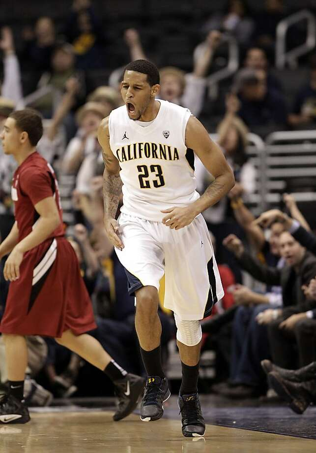 California's Allen Crabbe reacts after making a three-point basket during the second half of an NCAA college basketball game against the Stanford at the Pac-12 conference championship in Los Angeles, Thursday, March 8, 2012. California won 77-71. (AP Photo/Jae C. Hong) Photo: Jae C. Hong, Associated Press