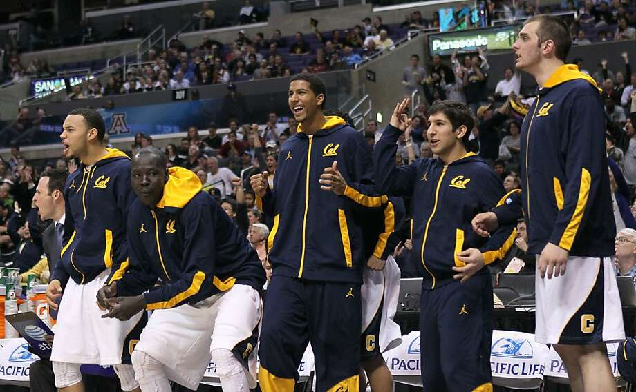 The California Golden Bears bench celebrates during the second half of the game against the Stanford Cardinal during the quarterfinals of the Pac12 Men's Basketball Tournament at Staples Center on March 8, 2012 in Los Angeles, California. California won 77-71. Photo: Stephen Dunn, Getty Images