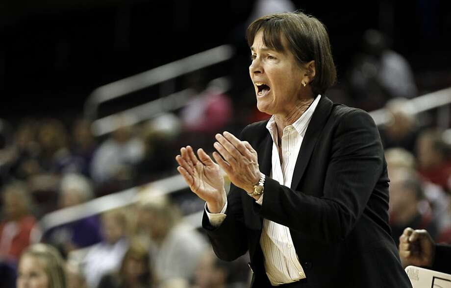 Stanford head coach Tara VanDerveer applauds a play during the first half of an NCAA college basketball game against Washington at the Pac-12 Conference tournament in Los Angeles, Thursday, March 8, 2012. Photo: Matt Sayles, Associated Press