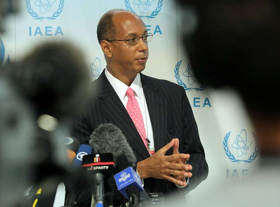 """US envoy to the International Atomic Energy Agency (IAEA) Robert Wood addresses journalist during a press conference on March 8, 2012 at the IAEA headquaters in Vienna. World powers said today that mooted talks with Iran must be """"serious"""" and urged Tehran to allow UN inspectors access to a military base thought to be central to its suspected nuclear weapons drive. Photo: Dieter Nagl, AFP/Getty Images"""