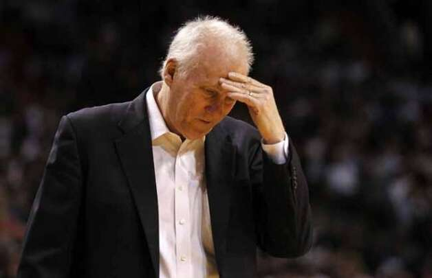 MIAMI, FL - JANUARY 17:  San Antonio Spurs head coach Gregg Popovich reacts during a game against the Miami Heat at American Airlines Arena on January 17, 2012 in Miami, Florida. NOTE TO USER: User expressly acknowledges and agrees that, by downloading and/or using this Photograph, User is consenting to the terms and conditions of the Getty Images License Agreement.  (Photo by Mike Ehrmann/Getty Images) (Getty Images)