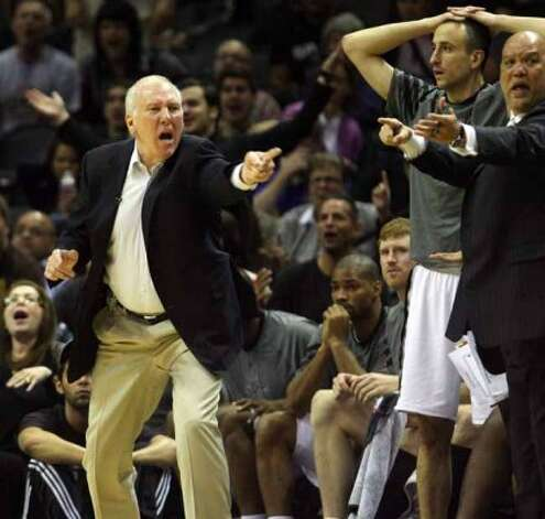 Spurs head coach Gregg Popovich yells at a referee after a call in the second half Spurs vs Nuggets, Sunday, March 4, 2012. The Nuggets beat the Spurs 99-94. (JENNIFER WHITNEY) (special to the Express-News)