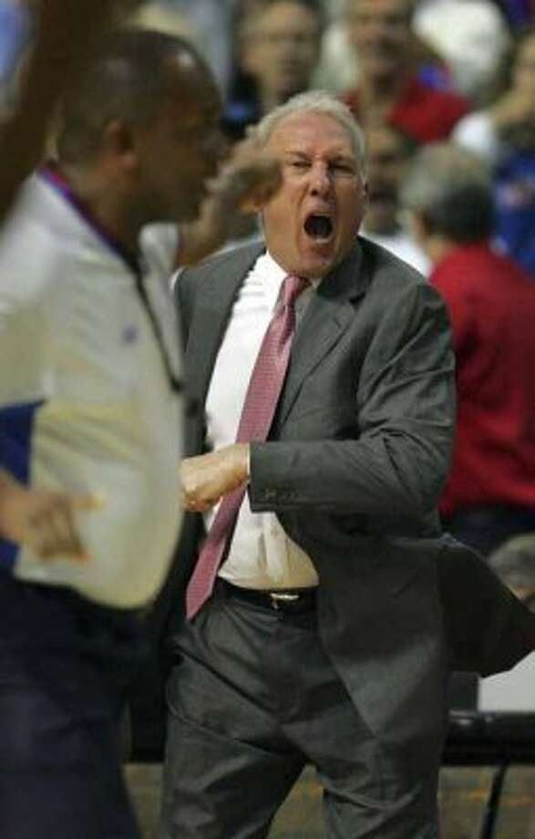 Gregg Popovich screams at the referees about the lack of foul calls for the Spurs during first quarter action game four NBA Finals on Thursday, June 16, 2005 at the Palace at Auburn Hills. Popovich received a technical foul. BAHRAM MARK SOBHANI/STAFF (SAN ANTONIO EXPRESS NEWS)