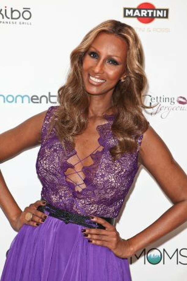 Iman, also wife of pop star David Bowie, runs a multi-million-dollar cosmetics company. Here she is in February 2012, age 56. (Chelsea Lauren / Getty Images for The Fashionable Mom)