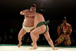 Sumo wrestlers Waka and Noro faced off at this years Men of Menil event