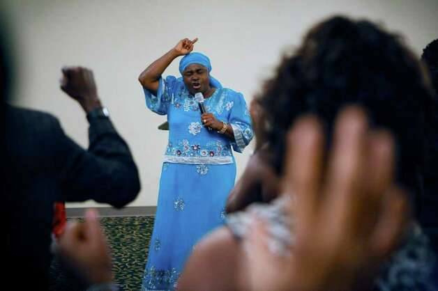 Helen Ukpabio, shown in Houston in 2010, will arrive for another visit next week to cure bad dreams and witchcraft attacks, according to a flier.  Photo: MICHAEL STRAVATO / NYTNS