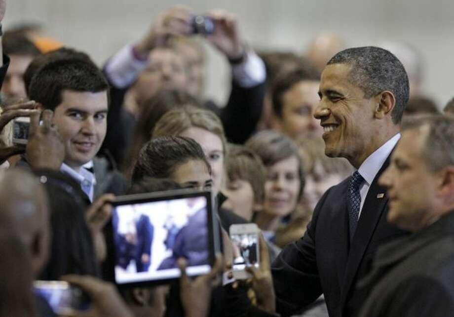 Greeting supporters at Ellington (Melissa Phillip / Houston Chronicle)