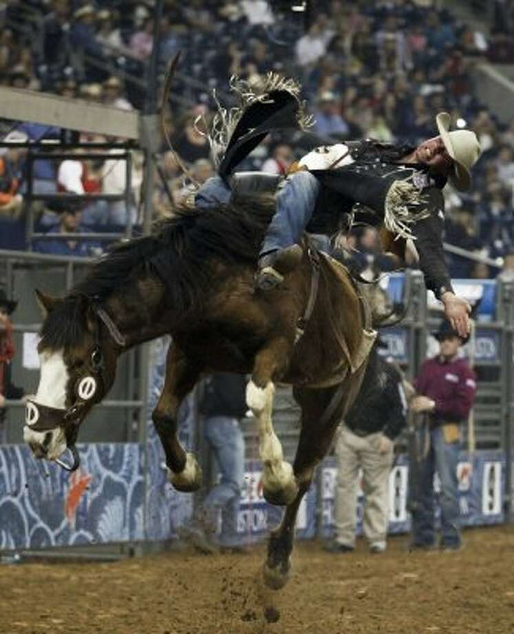 Luke Creasy rides March 1, 2012 in Houston at Rodeo Houston during the Rodeo Houston BP Super Series I, Championship Round. (Eric Kayne / Chronicle)