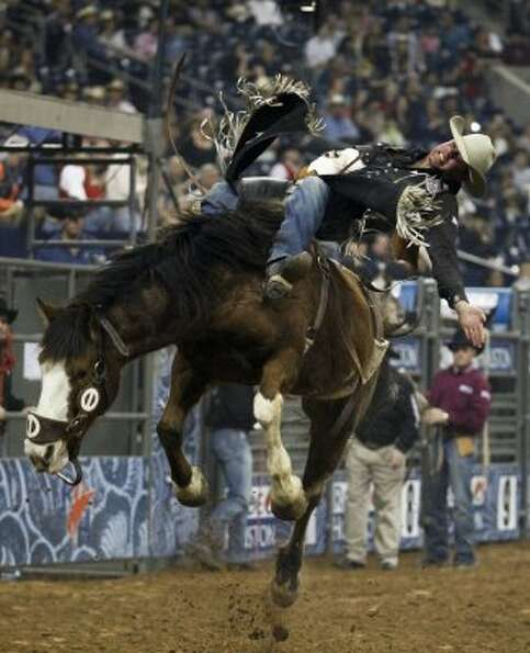 Luke Creasy rides March 1, 2012 in Houston at Rodeo Houston during the Rodeo Houston BP Super Series